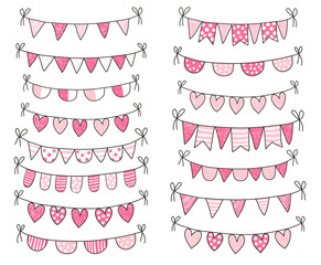 Cute vector doodle buntings in pink and white colors with outline for Valentine's day designs, greeting cards and decorations