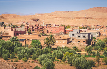 Desert village with Kasbah Ait Ben Haddou near Atlas Mountains, Morocco