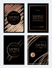 Brush stroke rose gold design template. Abstract design for invitation, greeting card. Black background with brush strokes. Vector illustration