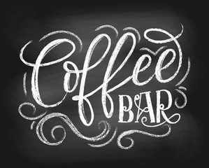 Coffee bar chalkboard logo. Hand drawn chalk lettering with grunge elements. Retro coffee shop label. Vector illustration.