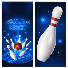 Bowling night flyer template. Vector clip art illustration.