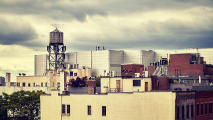 Roofs of the New York City, color toned picture, USA.
