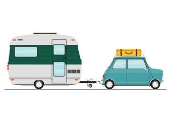 Cartoon car with a caravan. Side view. Flat vector.