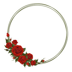 Wreath with red rose. Floral design decor for greeting or  wedding card. Round frame made of branches. Vector template.