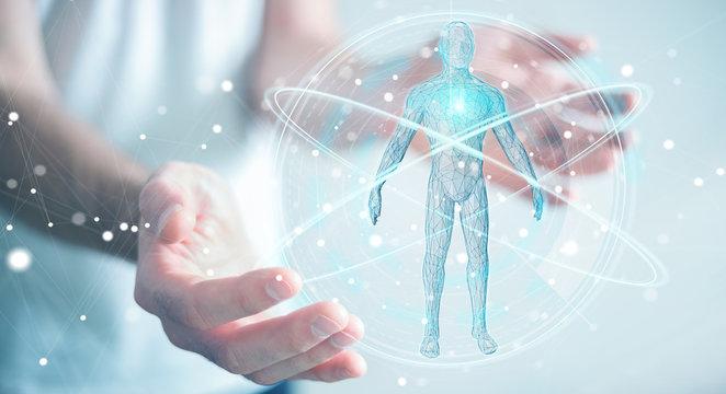 Businessman using digital x-ray human body scan interface 3D rendering