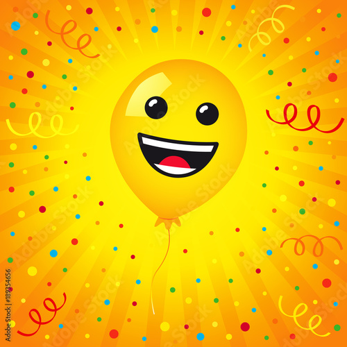 Smiling Of Balloon And Colored Confetti On Yellow Stripes Background Vector Emoticon Emoji Flat Smile