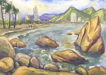 Vietnam. Watercolor painting Marine landscape with views of the city
