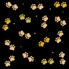 Paw print made of hearts made of golden colors. Valentine's day black background