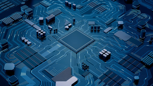 CPU chip on Motherboard - abstract 3D render of a processor computer chip on a cicuit board with microchips and other computer parts