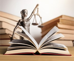 Wall Mural - Statue of justice and open book