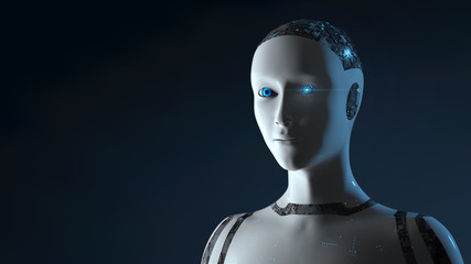 Female Cyborg Robot - 3D render of a futuristic robot conveying artificial intelligence, work and production automation in the digital age