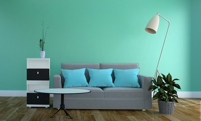 Mint wall - Living room with sofa and lamp. 3D rendering
