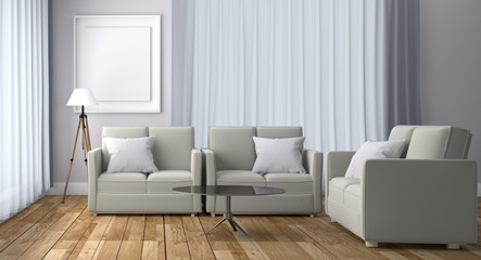 White Room Living Interior - Sofa window design - Scandinavian style white room with wooden floor and frame on white wall background. 3D rendering