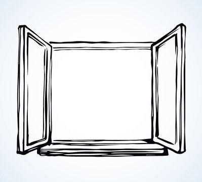 Open window. Vector drawing