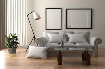 Living Room Scandinavian Style. 3D rendering