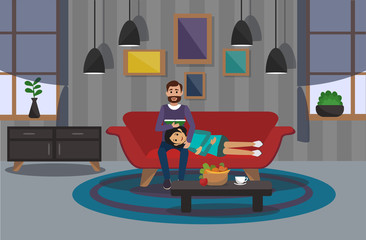 Couple on sofa in room. Vector illustration.