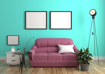 Green mint wall with sofa & sideboard on wood floor interior. 3D rendering