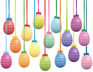 Easter eggs hanging as table decoration - colorful isolated background vector illustration on white background.