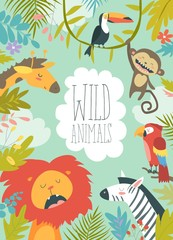 Happy jungle animals creating a framed background