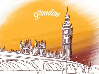 Sketch of Big Ben in London