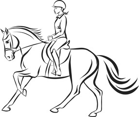 The girl riding on a horse.