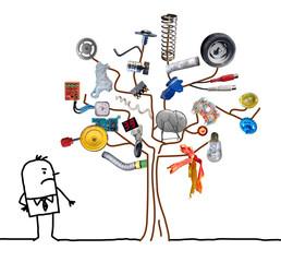 Cartoon Man Watching a Garbage Tree