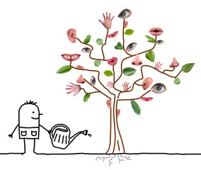 Cartoon Gardener Watering Five Senses Tree
