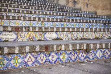 Caltagirone - Sicily (Italy) Famous staircase adorned with hand-painted ceramic tiles.