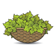 rattan basket with grape leaves vector cartoon