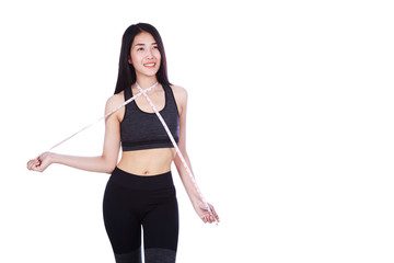 fitness woman with tape measure around her neck isolated on white background