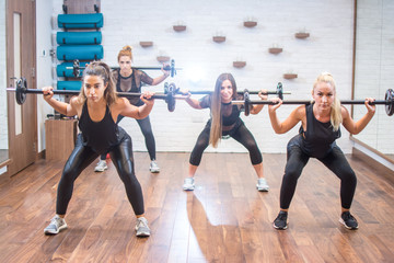 Group of young women lifting barbells together in health club.