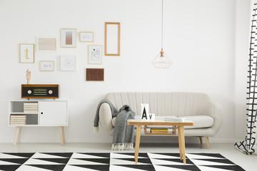 Living room with beige settee