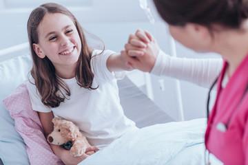Smiling girl in the hospital