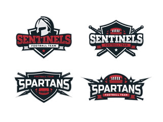 Modern professional football logo set for sport team
