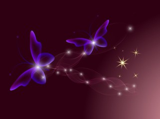 Glowing background with magic  butterflies and sparkling stars.Transparent butterfly and glowing stars. Glowing image on dark background.