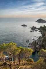 Fototapete - Coast landscape sunset of Costa Brava, Spain.
