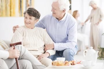 Happy senior couple enjoying meeting