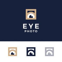 Modern professional logo photos eyes on blue background