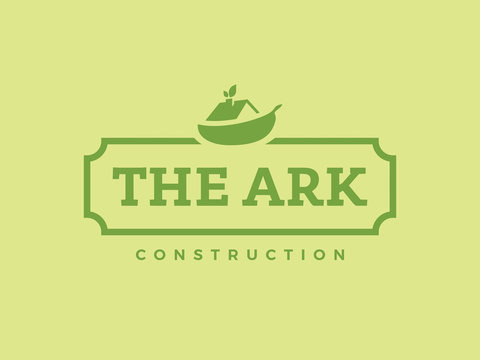 Modern professional logo the ark construction on green background