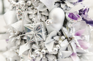 Silver color gift ornaments and beads