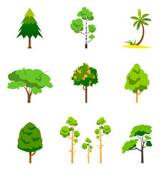 Different tree set, vector illustration.