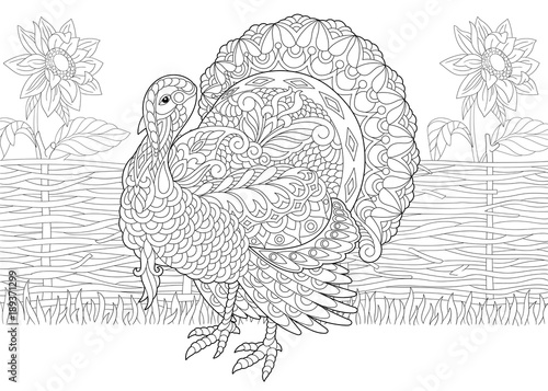 Coloring Page. Adult Coloring Book. Turkey bird and sunflowers on ...