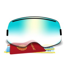 The concept of vacation at a ski resort. Ski goggles and plane tickets.