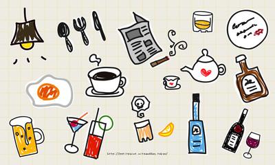 カフェ&バーの手描きアイコンセット