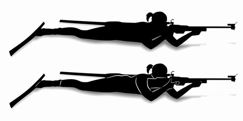 silhouette of a biathlon shooter , vector draw