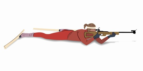 illustration of a biathlon shooter , vector draw