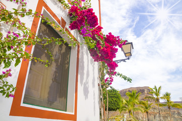 Streets in the port city of Gran Canaria, Puerto de Mogan, the white facades of the houses decorated with blooming flowers