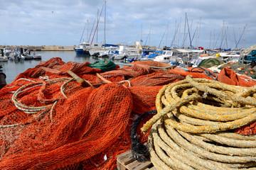 Fishing nets heap at old Jaffa port