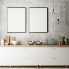 mock up poster frame in kitchen interior background, Scandinavian style, 3D render, 3D illustration