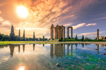 Wall Mural - The Temple of Olympian Zeus (Greek: Naos tou Olimpiou Dios), also known as the Olympieion, Athens, Greece.